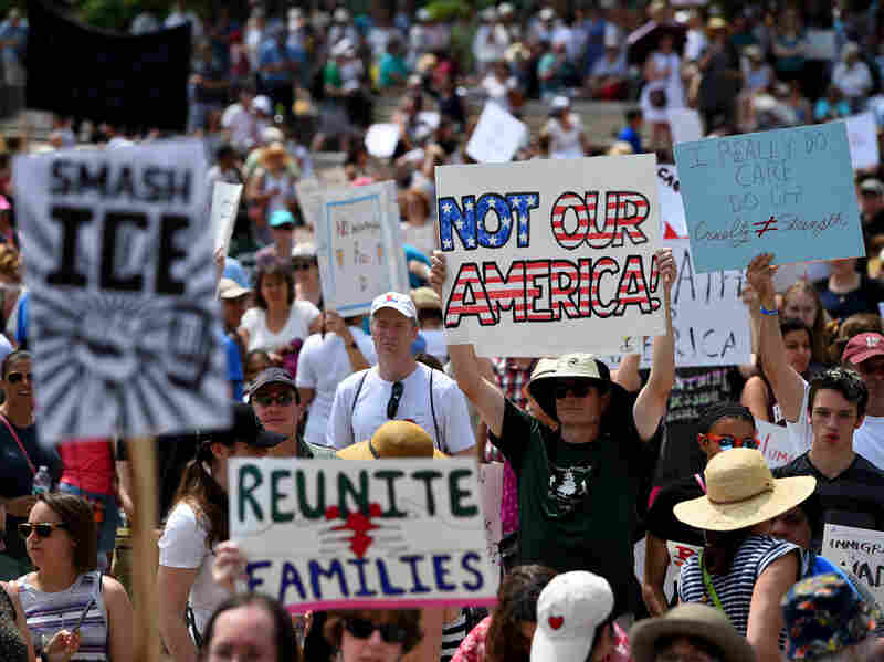 "The protesters marched  against the ""zero-tolerance"" immigration policies."