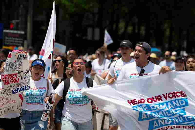 Demonstrators march against the separation of immigrant families in Washington, D.C.