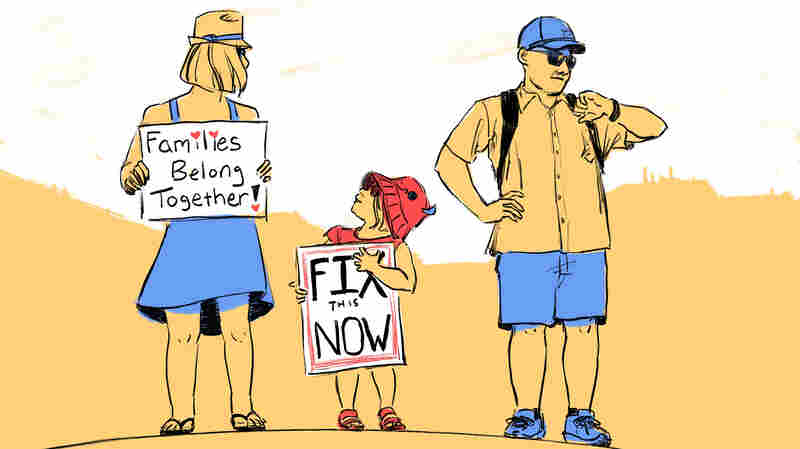 Drawn Together: Scenes From The 'Families Belong Together' March