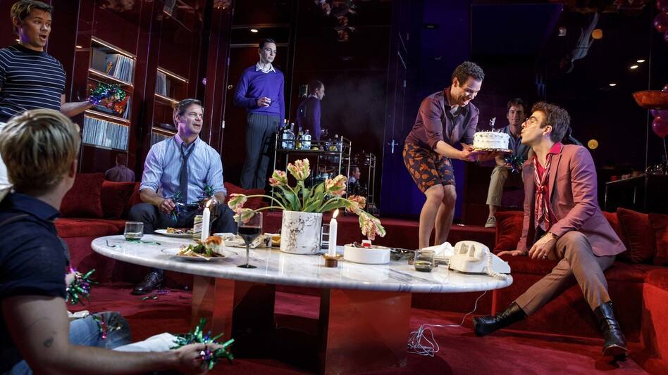 Fifty years after it was first staged, <em>The Boys in the Band</em> is finally playing on Broadway, with an all-gay cast including several film and TV stars. (Joan Marcus/Polk and Co.)