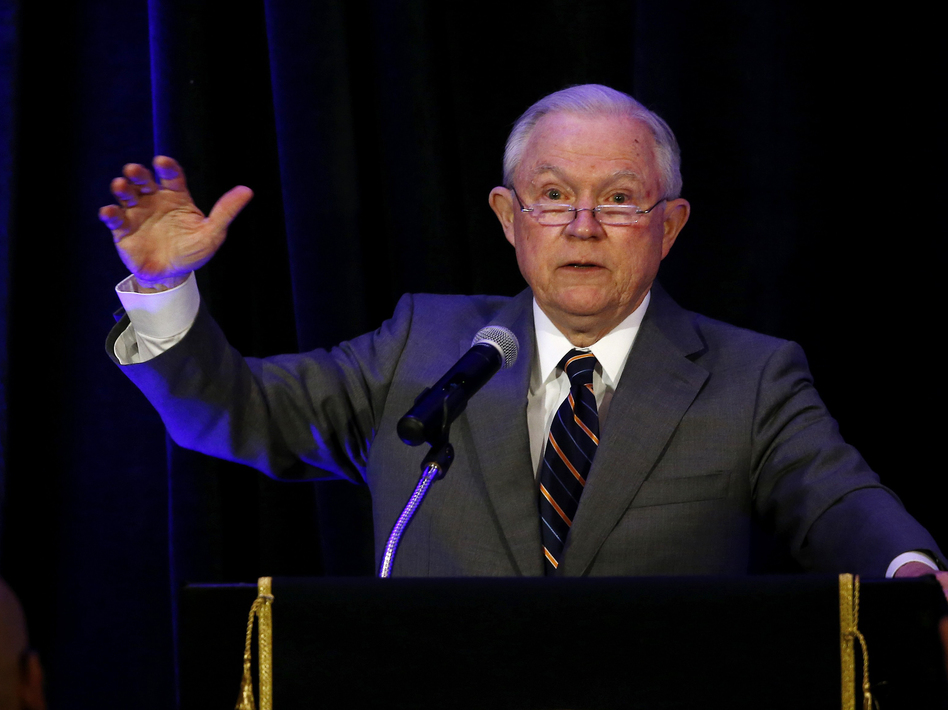 Attorney General Jeff Sessions speaks at the Association of State Criminal Investigative Agencies event in May. On Tuesday, the departments of Justice and Education announced that they have retracted documents that advised schools on how they could legally consider race in admissions and other decisions. (Ross D. Franklin/AP)