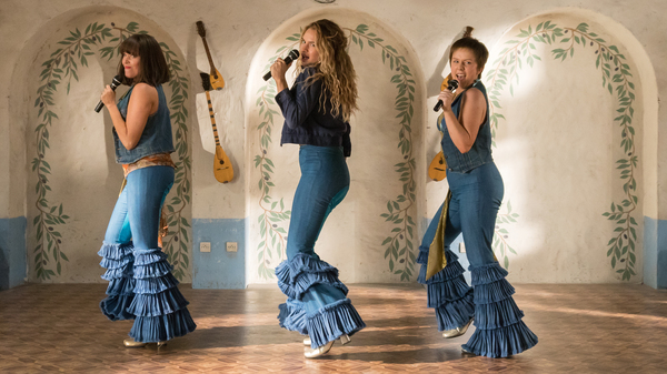 Electric Waterloo: (L to R) Young Tanya (Jessica Keenan Wynn), Young Donna (Lily James) and Young Rosie (Alexa Davies) feel the beat from the tambourine, oh yeah, in Mamma Mia! Here We Go Again.