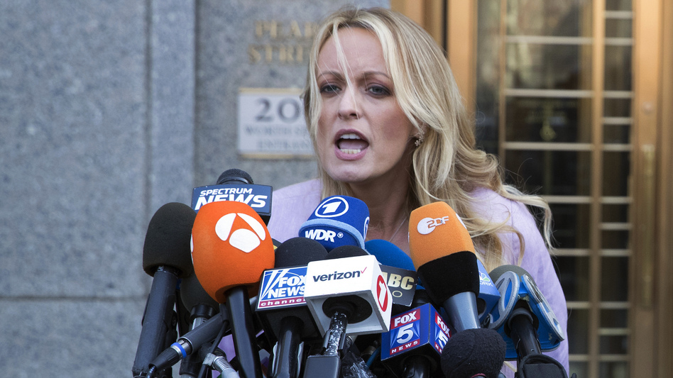 Adult film actress Stormy Daniels speaks outside federal court, in April in New York.