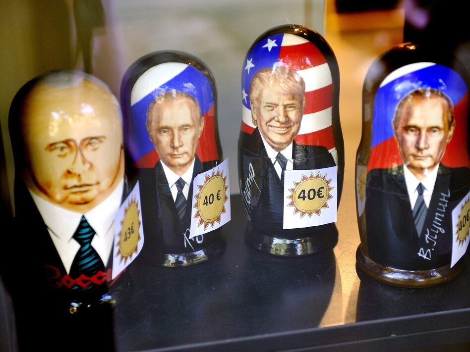Russian matryoshka dolls depicting Russian President Vladimir Putin and U.S. President Trump are on sale in the Ruslania book store in Helsinki. Putin and Trump are scheduled to meet on Monday.