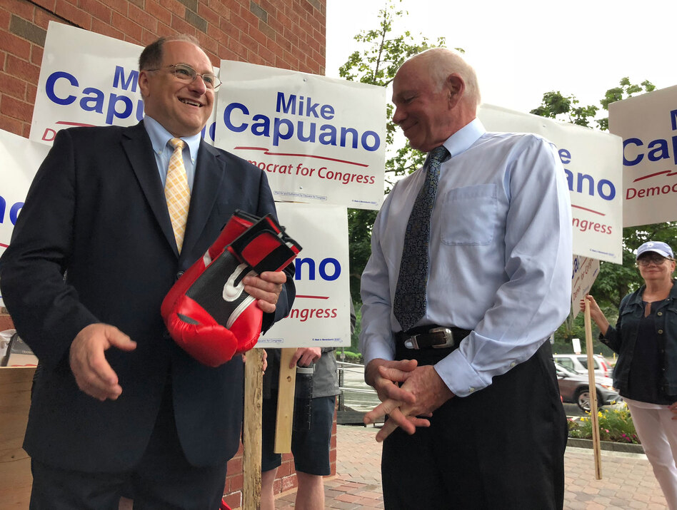 Rep. Mike Capuano struggles to understand why some voters think race and gender are relevant in this race. When Capuano campaigns, he doesn't talk much about his opponent, focusing on his own record. (Asma Khalid/NPR)