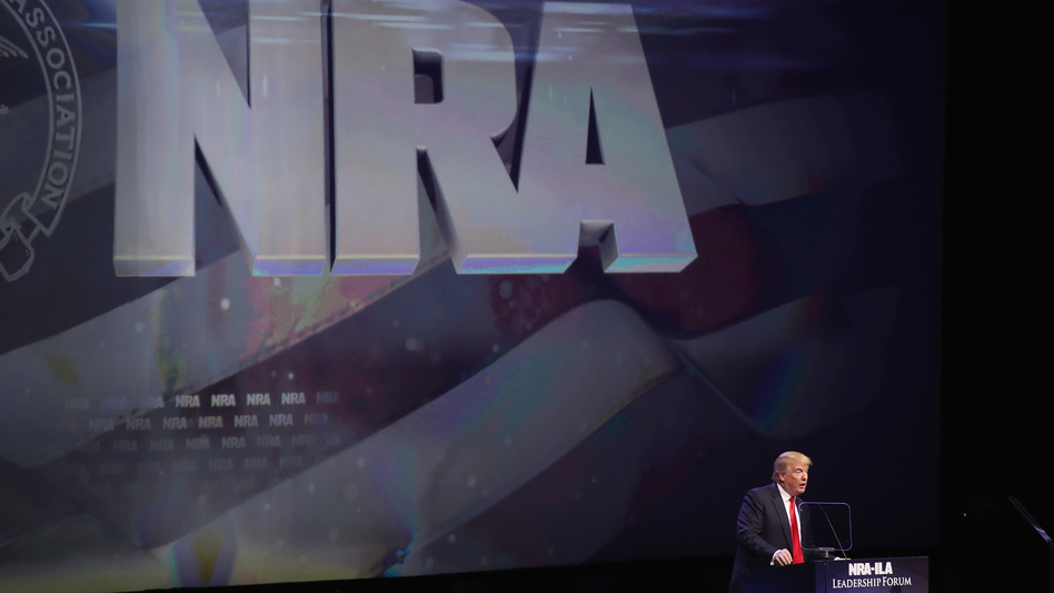 Then-Republican presidential candidate Donald Trump speaks at the NRA Convention in May 2016 in Kentucky. (Scott Olson/Getty Images)