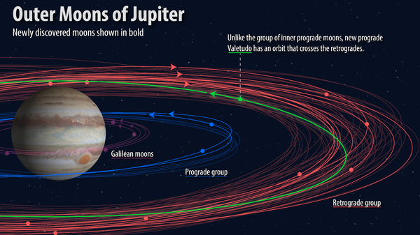 """An illustration shows how the orbits of the 12 newly discovered moons (bold) fit into the known orbital groupings of the Jovian moons (not bold). The """"oddball"""" with the proposed name Valetudo orbits in the prograde, but crosses the orbits of the planet's outer retrograde moons."""