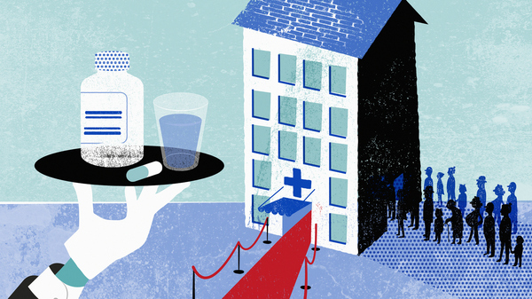 "Proponents of hospital mergers say the change can help struggling nonprofit hospitals ""thrive,"" with an infusion of cash to invest in updated technology and top clinical staff. But research shows the price of care, especially for low-income patients, usually rises when a hospital joins a for-profit corporation."