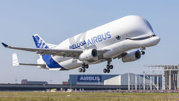 The Airbus BelugaXL, built to transport large aircraft pieces, took off on its first flight Thursday from France