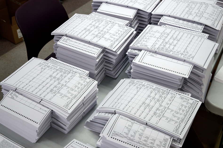 Ballots in New York City ahead of the 2016 general elections. While U.S. election officials have made progress increasing security, gaps still remain. (Drew Angerer/Getty Images)