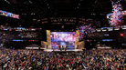 Then-candidate Donald Trump onstage with his running mate, Mike Pence, and their families at the end of the 2016 Republican National Convention in Cleveland. Republicans have chosen Charlotte, N.C., a city that hosted Democrats' convention in 2012, to host their 2020 convention.