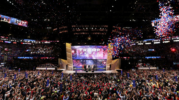 Then-candidate Donald Trump onstage with his running mate, Mike Pence, and their families at the end of the 2016 Republican National Convention in Cleveland. Republicans have chosen Charlotte, N.C., a city that hosted Democrats