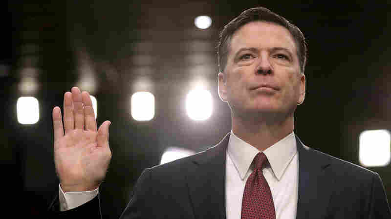 Former FBI Director James Comey is sworn in to testify before the Senate Intelligence Committee on June 8, 2017, in Washington, D.C.