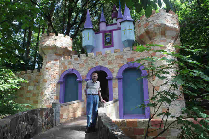 Roger Tofte opened the Enchanted Forest in Turner, Ore., in 1971, after spending seven years building the family-run theme park. The 88-year-old stands in front of one of his first creations, the castle at the entrance to Storybook Lane.