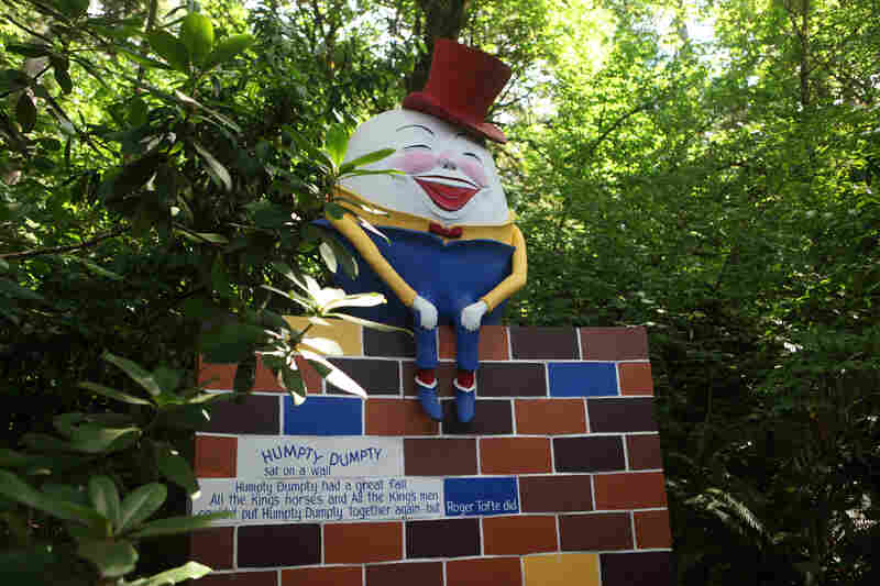 Along Storybook Lane, one of the park's original features, visitors encounter nursery rhyme and fairy tale characters like Hansel and Gretel and Humpty Dumpty.