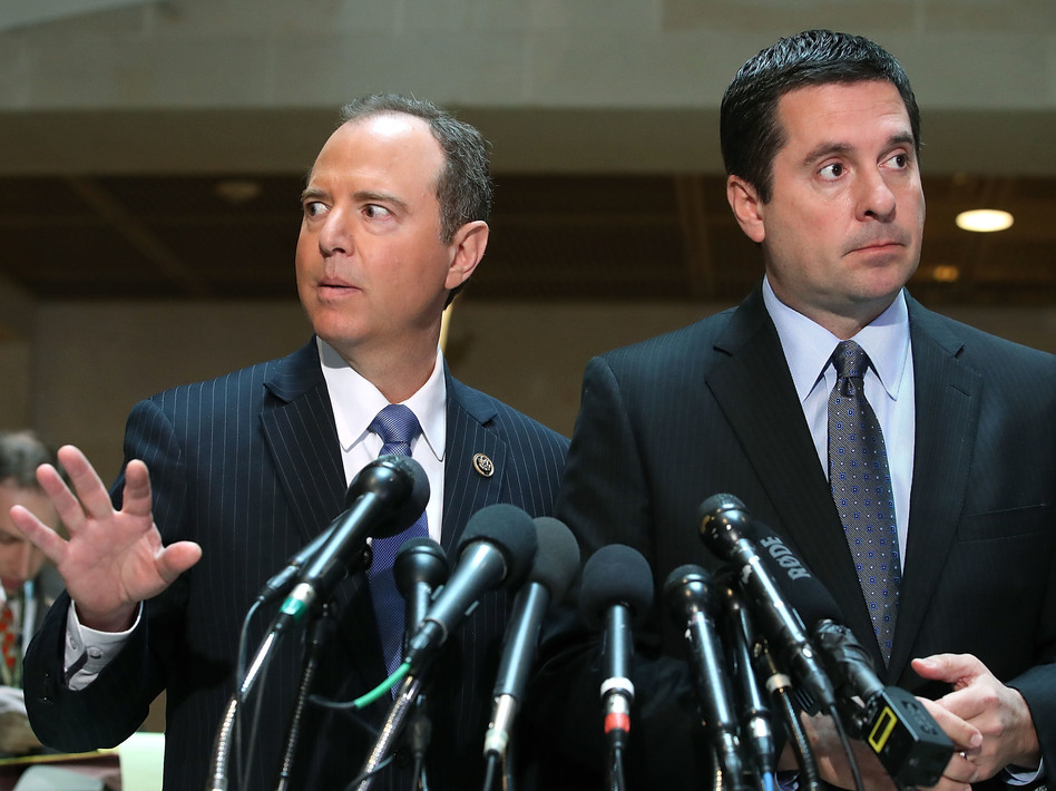 Democrats, led by House intelligence committee ranking member Adam Schiff (left), have been dueling with Republicans, led by House intelligence committee chairman Devin Nunes (right), for months over the FISA document. (Mark Wilson/Getty Images)