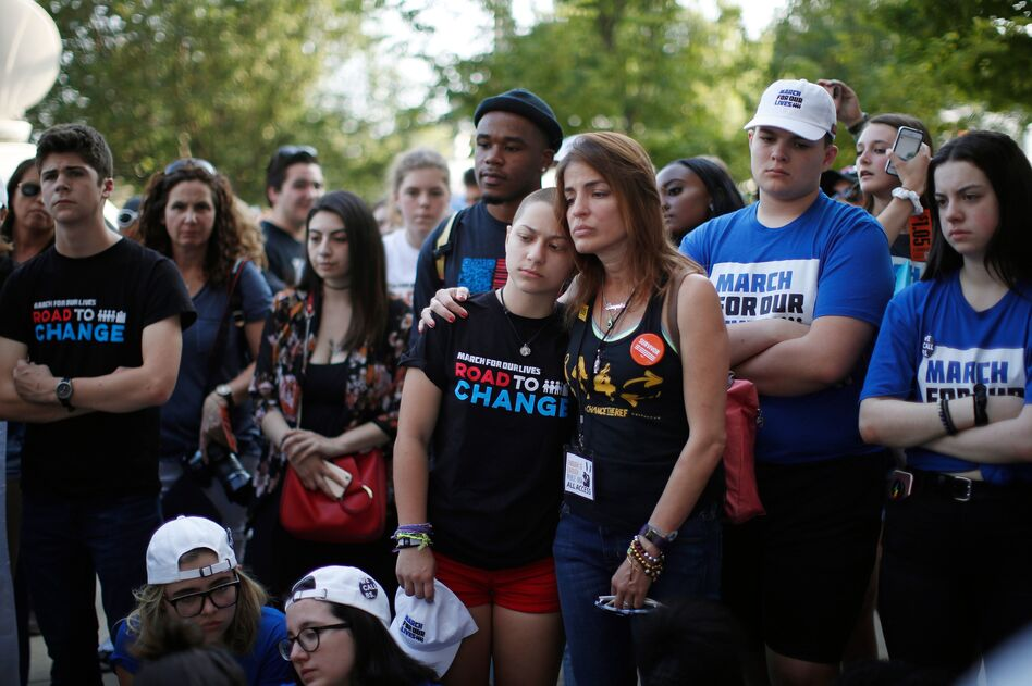 Anti-gun violence advocate and Marjory Stoneman Douglas High School shooting survivor Emma Gonzales, center, at a rally in Chicago in June. The students from the Parkland, Fla., school have become vocal anti-gun advocates, but a more conservative Supreme Court may stymie their efforts. (Jim Young/AFP/Getty Images)