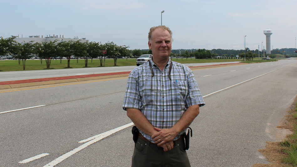 Steve Tramell is mayor of West Point, Ga., home to a Kia auto plant that employs thousands. He's worried about the potential impacts that proposed import tariffs on auto parts and cars would have on his town. (Johnny Kauffman /WABE)