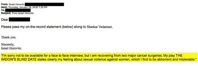 "We reached out to Israel Horovitz via email, phone, and mailed letters. Over email, he declined an interview, but said he finds sexual violence against women to be ""abhorrent and intolerable."""