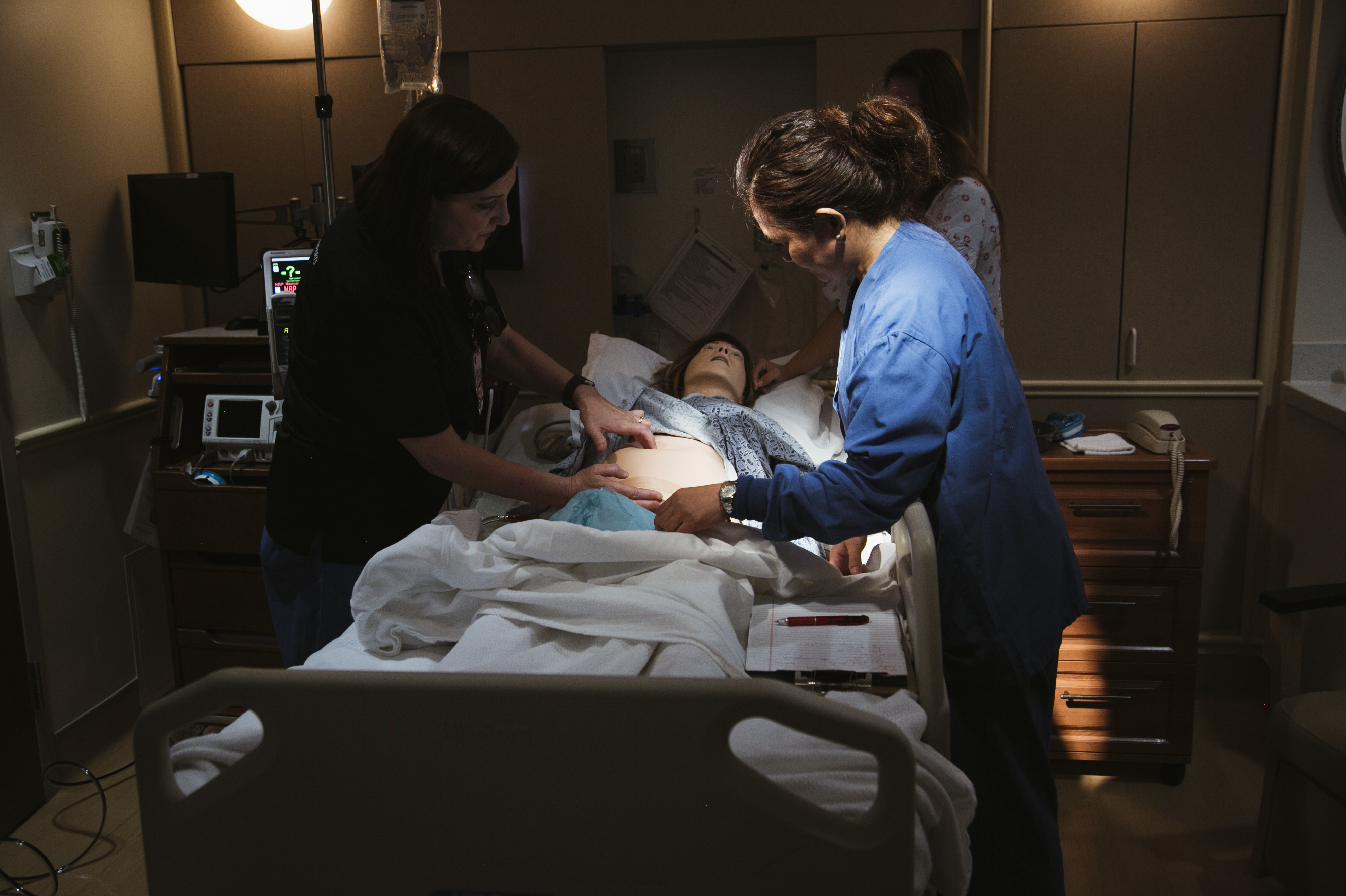Using a mannequin to simulate dangerous scenarios, a team at Pomona Valley Hospital Medical Center learns standard treatments for obstetric emergencies like hemorrhage.