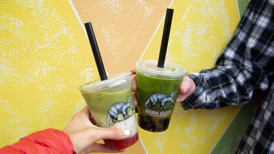 Bubble tea, or boba, features large tapioca balls at the bottom meant to be sucked up through a plastic straw. Vendors say paper straws don't always work as well, and they're more expensive. (Samantha Shanahan/KQED)