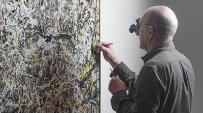 Art design npr a jackson pollock painting gets a touch up and the publics invited to watch fandeluxe Images