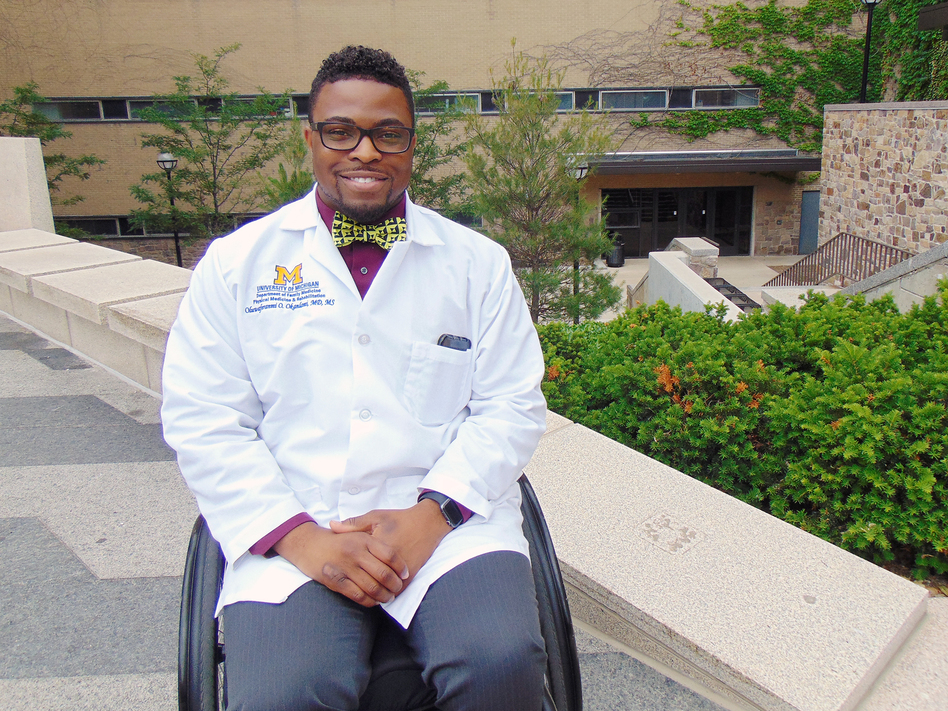 Feranmi Okanlami, a doctor at Michigan Medicine, became partially paralyzed after an accident in 2013, during his medical residency. (Courtesy of Jina Sawani/University of Michigan)