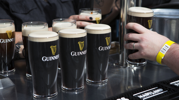 Pints of Guinness stouts are lined up at one of the outdoor bars at the new brewery. Guinness, famous for making stout beer, opened a new brewery in Maryland this week. It