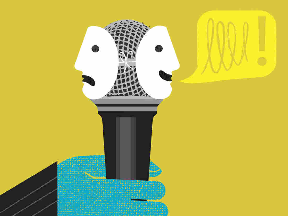Hand holding microphone with happy and sad face masks, over yellow background.
