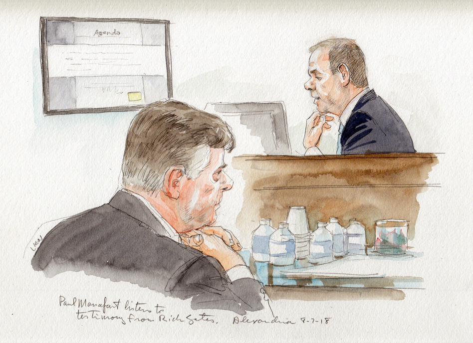 Paul Manafort listens to Rick Gates testifying on Tuesday. (Art Lien)