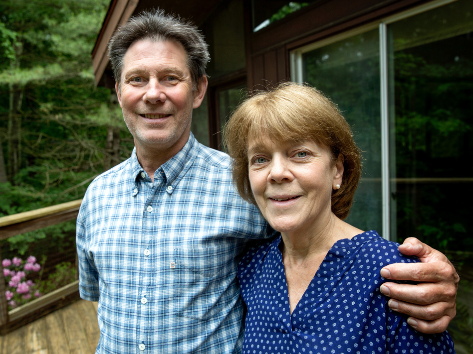 Bea and Doug Duncan outside their home in Natick, Mass. The coaching they got from the Community Reinforcement and Family Training program, they say, gave them tools to help their son Jeff stick to his recovery from drug use. He's 28 now and has been sober for nine years.