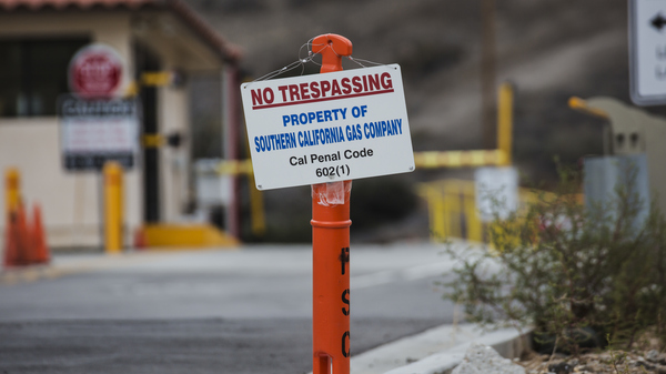 A sign is posted in late 2015, during a leak at a natural gas storage well at the Southern California Gas Company