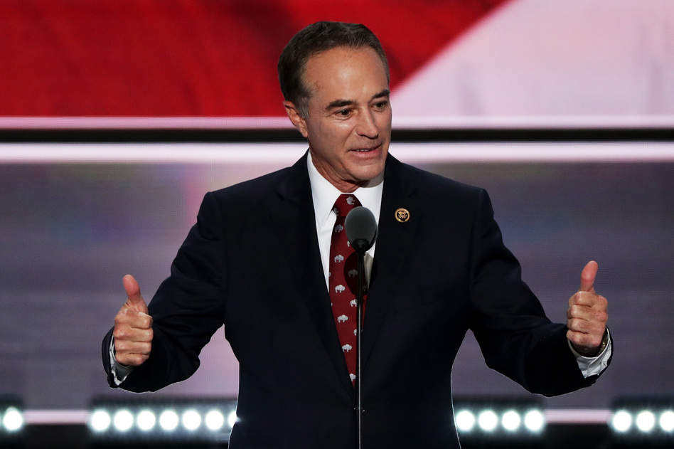 Rep. Chris Collins delivers a speech at the Republican National Convention in 2016 in Cleveland. Collins was the first sitting member of Congress to endorse Donald Trump's presidential bid.