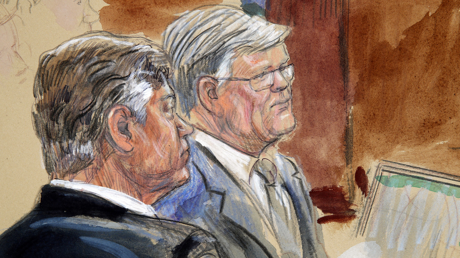 This courtroom sketch depicts former Donald Trump campaign chairman Paul Manafort, left, listening with his lawyer Kevin Downing to testimony earlier this week. (Dana Verkouteren/AP)