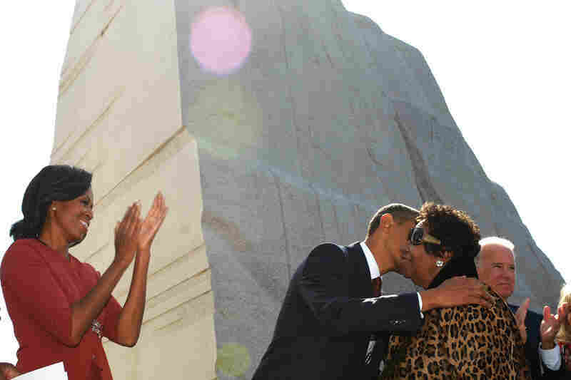 President Obama kisses Aretha Franklin after she performed at the dedication of the Martin Luther King Jr. Memorial in October 2011, in Washington, D.C.