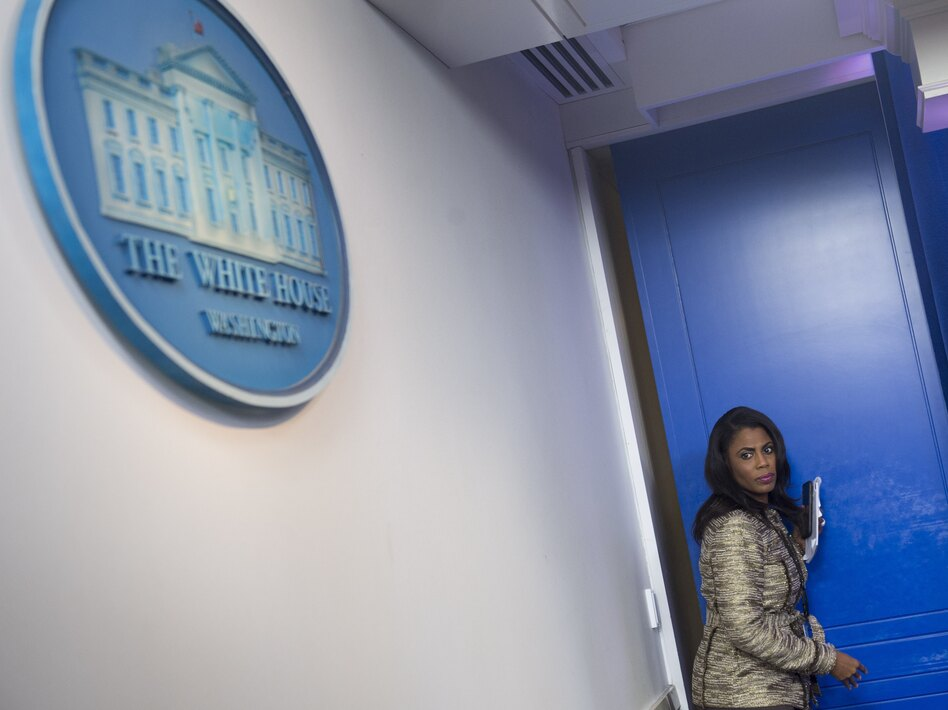 """Omarosa Manigault Newman, when she was still a White House staffer. She has since written a book about her time with the Trump administration, which prompted President Trump to call her a """"lowlife"""" on Twitter. (Saul Loeb/AFP/Getty Images)"""