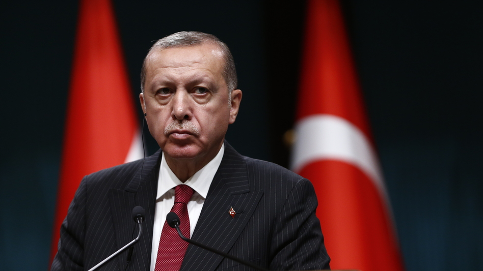 Turkish President Recep Tayyip Erdogan speaks during a news conference Tuesday at the presidential palace in Ankara. (Burhan Ozbilici/AP)