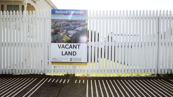 A plot of land for sale in Auckland, New Zealand, seen in 2015. At the time, the choice sliver of land — which measured just a tenth of an acre — was on sale for $840,000.