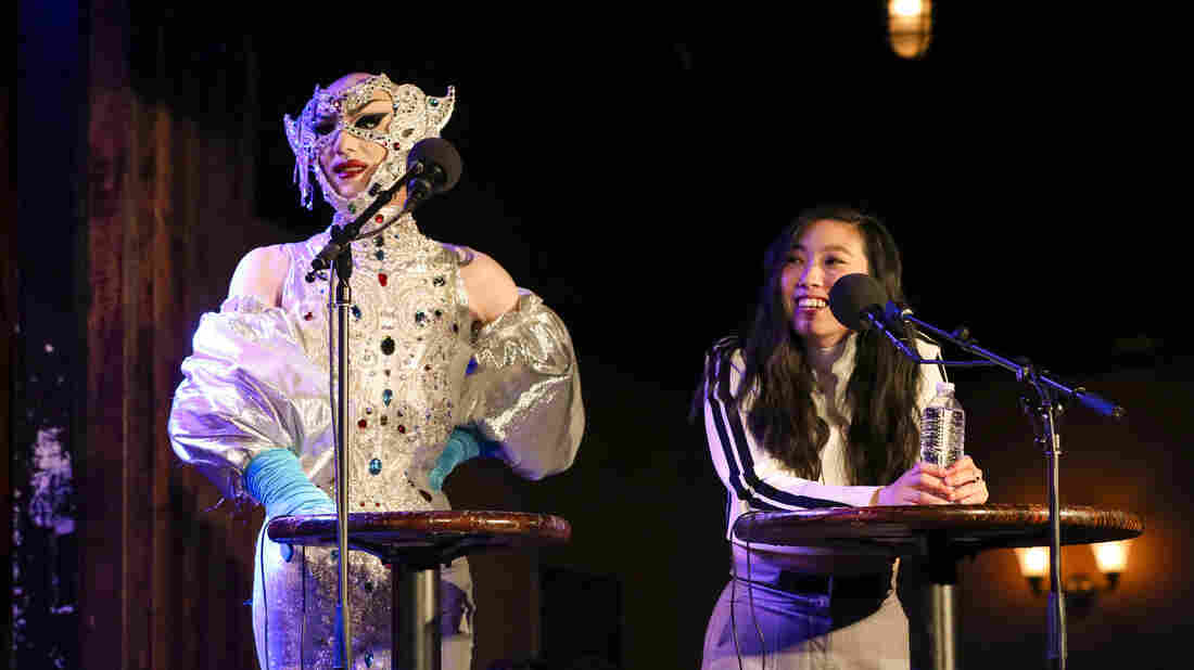 Sasha Velour and Awkwafina compete in a game on Ask Me Another at the Bell House in Brooklyn, New York.