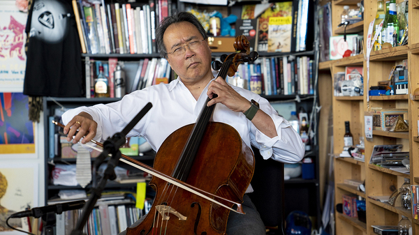 Yo-Yo Ma performs a Tiny Desk Concert on June 25, 2018 (Samantha Clark/NPR).