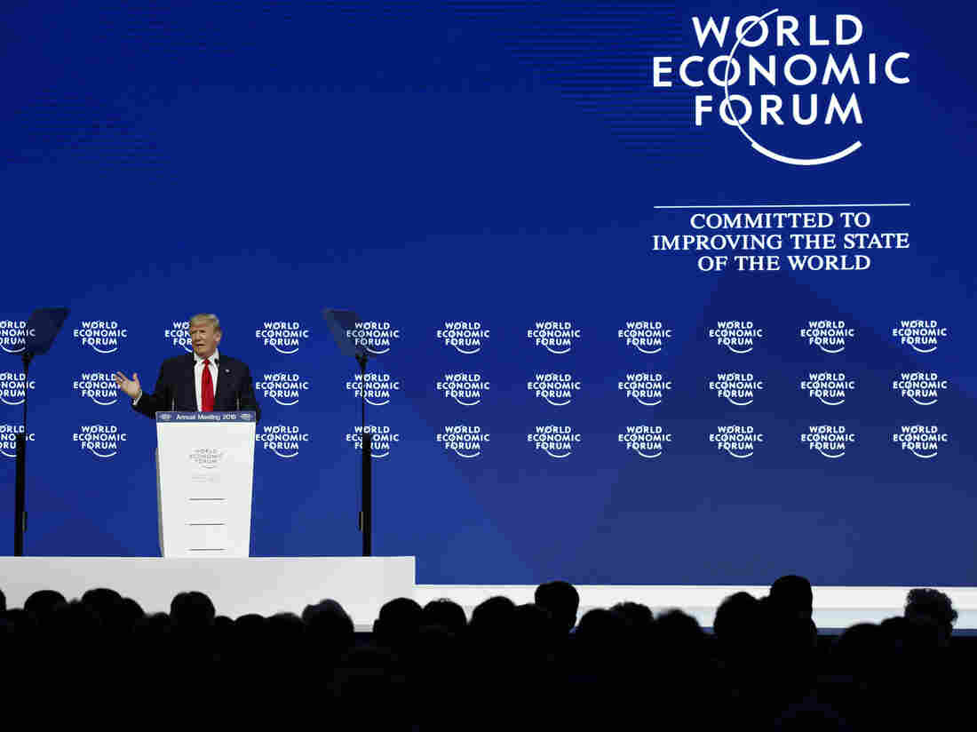 President Donald Trump speaks at the World Economic Forum on Friday.
