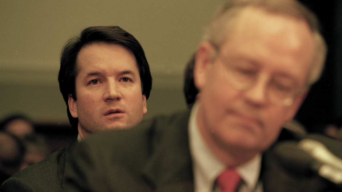 ... counsel Kenneth Starr as Starr testifies before the House Judiciary  Committee on the possibility of President Bill Clinton's impeachment in  1998.