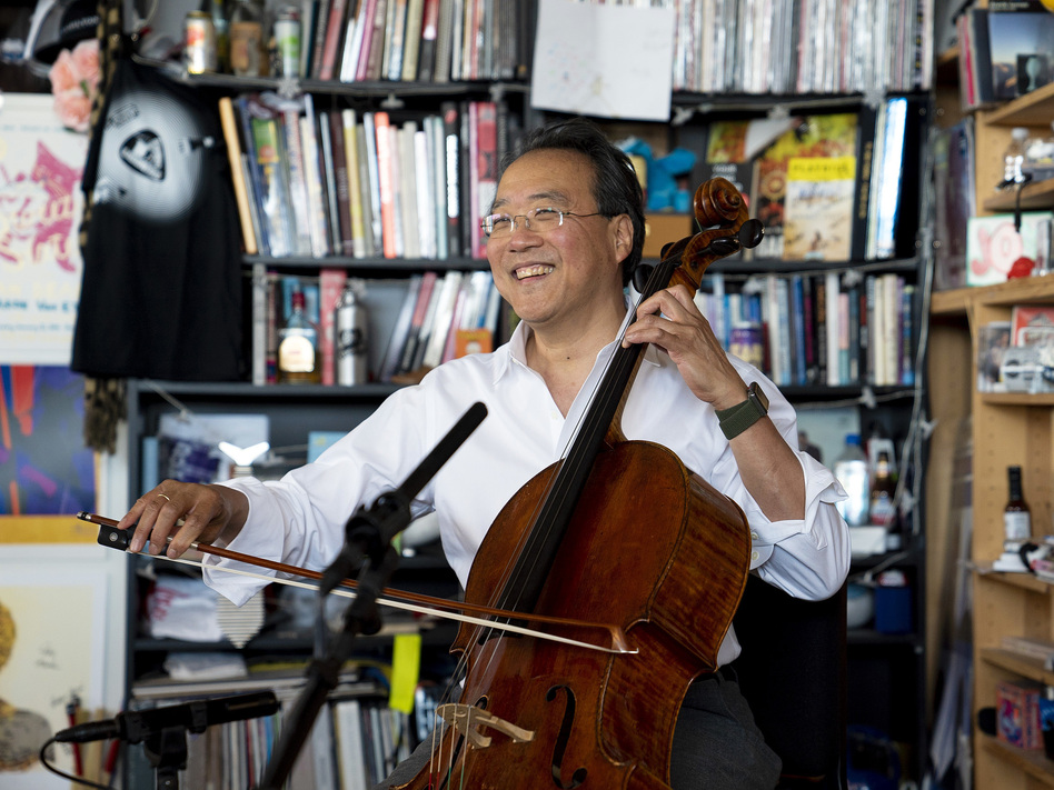 Yo-Yo Ma plays selections from Bach's Cello Suites at NPR Music's Tiny Desk. (Samantha Clark/NPR)