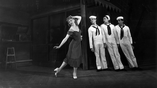The American Ballet Theatre at London's Covent Garden in 1946, in a production of Leonard Bernstein's ballet Fancy Free. Jerome Robbins (far right) choreographed Bernstein's music.