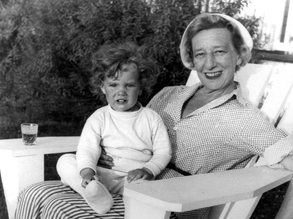 Jamie Bernstein with playwright Lillian Hellman at Martha's Vineyard. Hellman collaborated with Bernstein on his musical Candide.