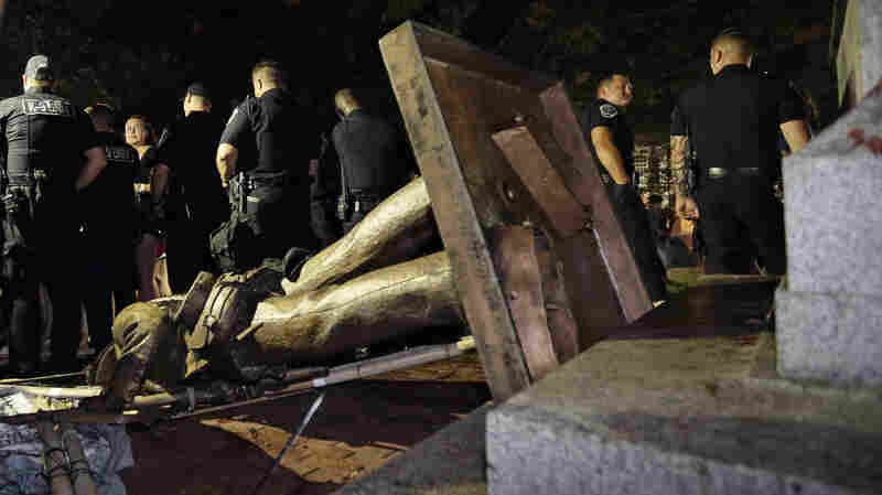 After A Year Of Rising Tensions, Protesters Tear Down Confederate Statue On UNC Campus