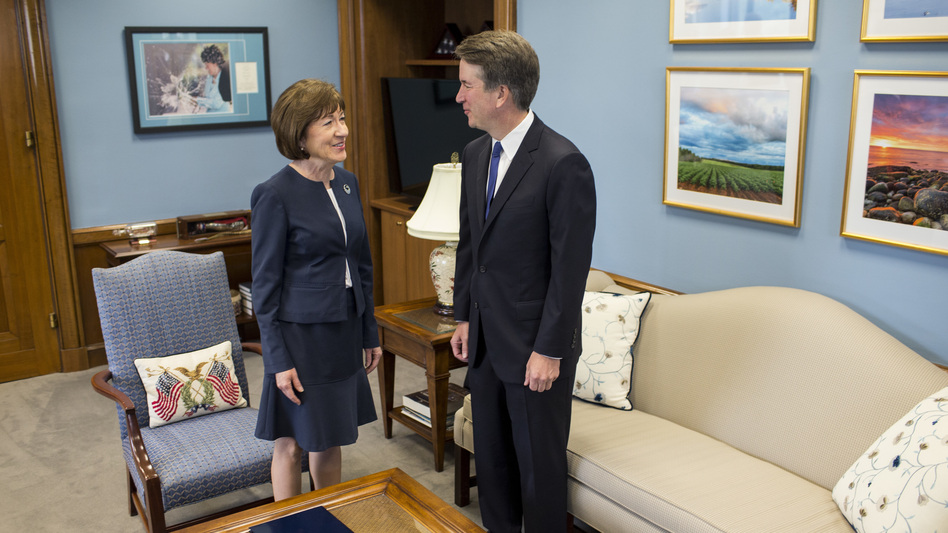 """We covered a wide range of issues, and it was very helpful, very productive and very important,"" Sen. Susan Collins said of her meeting with Supreme Court nominee Brett Kavanaugh on Tuesday. (Zach Gibson/Getty Images)"