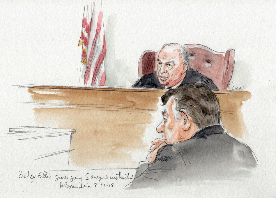 Judge T.S. Ellis III gives jury instructions in front of tax fraud defendant Paul Manafort on Tuesday. (Art Lien)