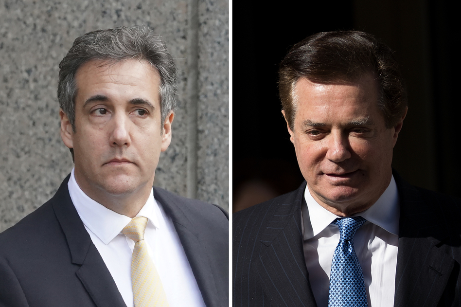 The two high-profile people close to President Trump, Michael Cohen (left) and Paul Manafort, were either found guilty or pleaded guilty to multiple federal crimes Tuesday. It was the closest Trump has been tied to potentially criminal acts as president. (Don Emmert/AFP and Drew Angerer/Getty Images)