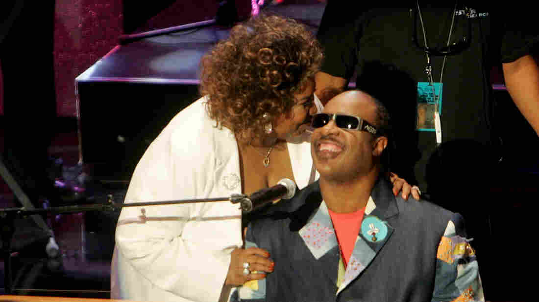 Aretha Franklin and Stevie Wonder onstage at the 10th Annual Soul Train Lady of Soul Awards, held at the Pasadena Civic Auditorium on September 7, 2005. (Kevin Winter/Getty Images)